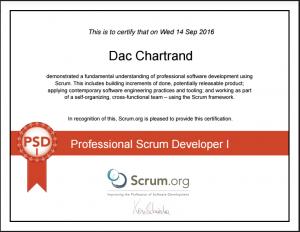Scrum.org PSD-I Certificate