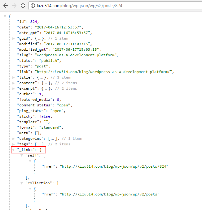 Shows the \_links object in a JSON response from a wordpress server. This link object points to other pages with related data